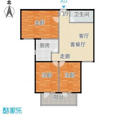 政洋家园107.27㎡3室1厅1卫1厨户型