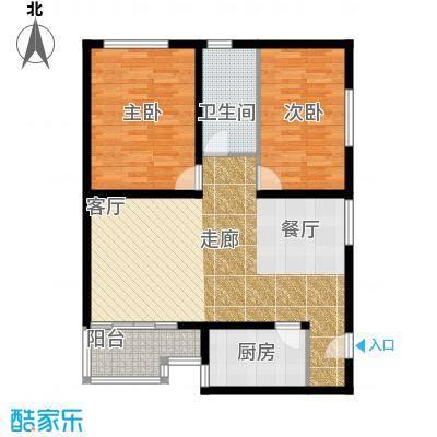 泰和园90.58㎡二室二厅一卫户型