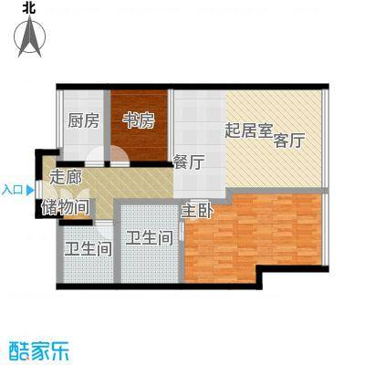 C-PARK西派国际公寓2号楼C户型两室两厅两卫129.44户型