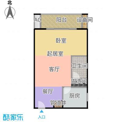 瑞丽江畔68.73㎡一室一厅一卫户型