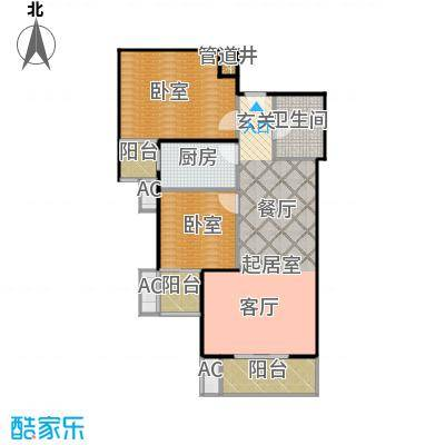 瑞丽江畔92.49㎡两室一厅两卫户型