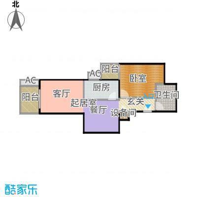 瑞丽江畔71.68㎡一室一厅一卫户型