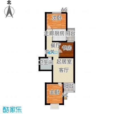 飞腾温泉家园91.37㎡三室二厅一卫户型