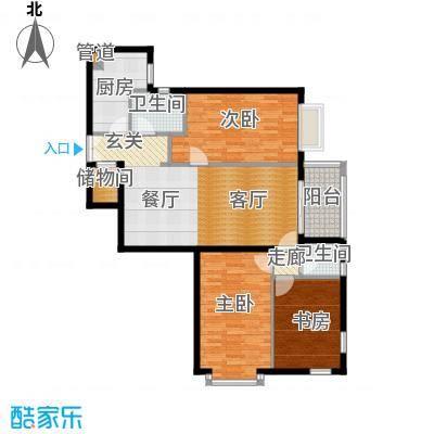 五栋大楼134.67㎡三室二厅二卫户型
