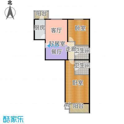 瑞丽江畔二室一厅二卫户型