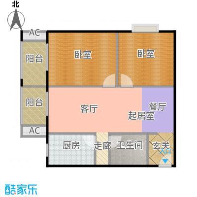瑞丽江畔97.96㎡三室两厅一卫户型