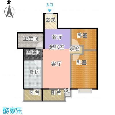 瑞丽江畔一室二厅一卫户型