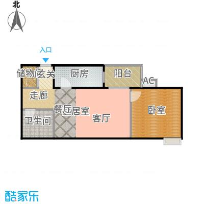 润景家园61.77㎡1室1厅1卫户型