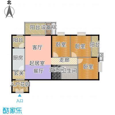 润景家园110.53㎡3室2厅1卫1厨户型