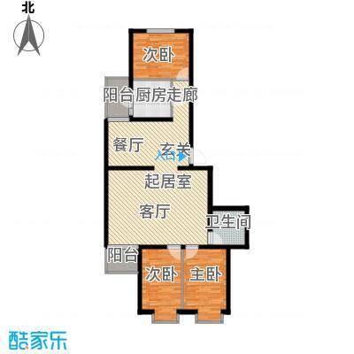 飞腾温泉家园114.56㎡3室2厅1卫1厨户型