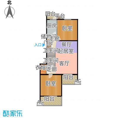 润景家园112.18㎡2室1厅1卫1厨户型
