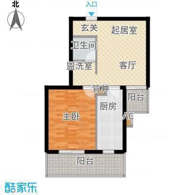 飞腾温泉家园64.85㎡1室1厅1卫1厨户型