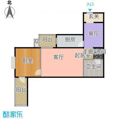 润景家园74.20㎡1室1厅1卫户型