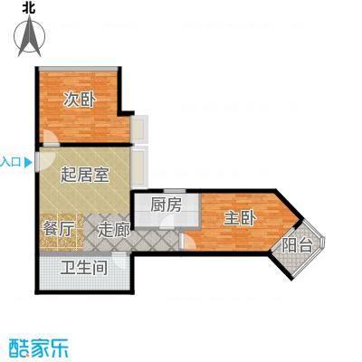 盛今大厦85.80㎡两室一厅一卫户型