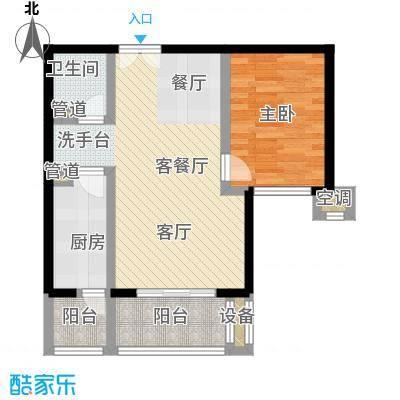 青塔东里小区72.35㎡一室两厅一卫户型