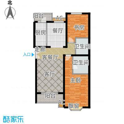 城南嘉园111.57㎡2室2厅2卫1厨户型