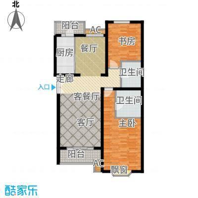 城南嘉园111.57㎡2室2厅2卫户型