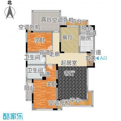 亿城天筑116.00㎡B5户型二室二厅二卫户型