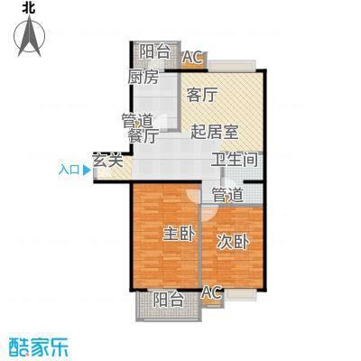 中景理想家D1两室两厅一卫,建面86.32,套内70.52户型