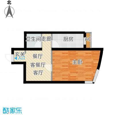 万润风景49.35㎡1号楼标准层T2户型