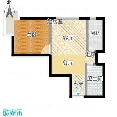 远洋自然9A1号楼户型一室两厅一卫户型