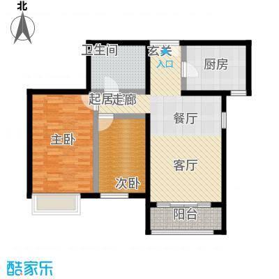 远洋自然101.59㎡10号楼b3户型两室两厅一卫,建面101.59,套内79.42户型
