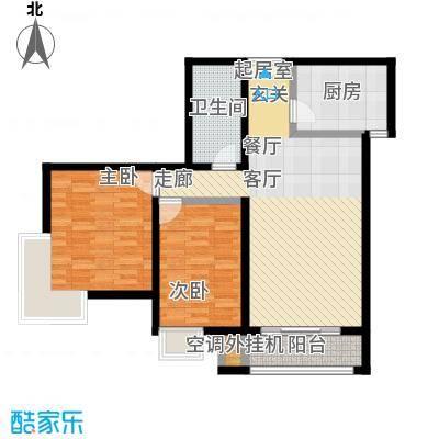 远洋自然109.24㎡9号楼b1户型两室两厅一卫,建面109.24,套内83.9户型