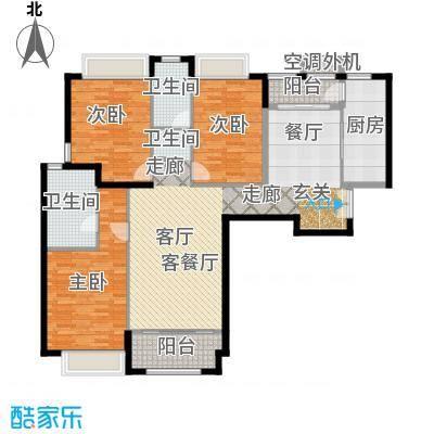威尔夏大道100.23㎡B12三室两厅两卫户型