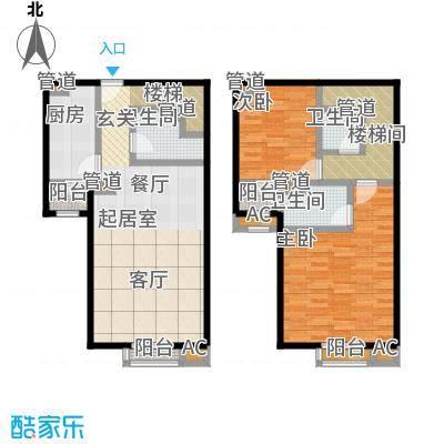 珠江骏景128.00㎡二室一厅三卫户型