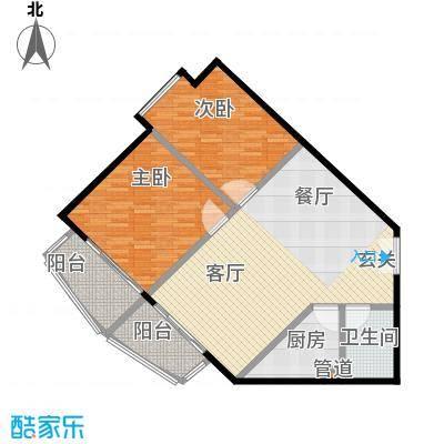 珠江骏景106.26㎡二室二厅一卫户型