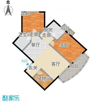 珠江骏景116.13㎡二室二厅一卫户型