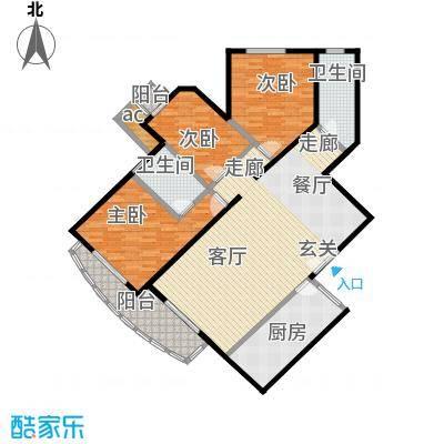 珠江骏景143.30㎡三室二厅二卫户型