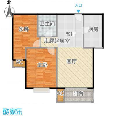 圣淘沙94.94㎡3号楼B户型二室二厅一卫户型