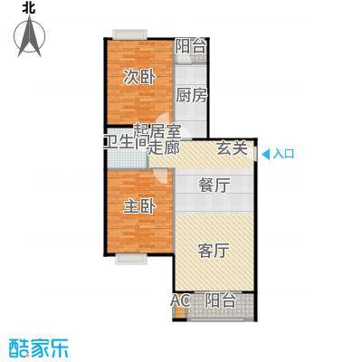 圣淘沙105.03㎡2号楼A户型二室二厅一卫户型