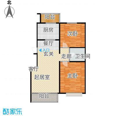 富锦嘉园93.00㎡三期F区1号楼D-2两室两厅一卫户型