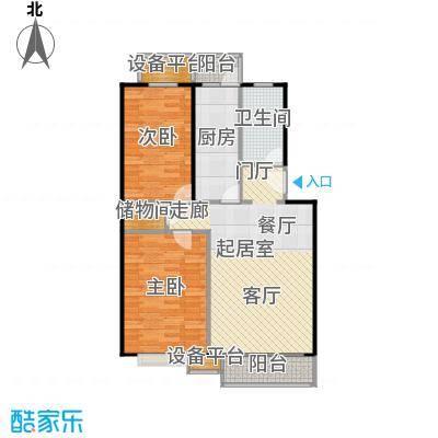 富锦嘉园91.00㎡F区6号楼A-1反两室两厅一卫户型