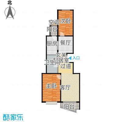 万润家园87.83㎡2室-2厅-1卫-1厨户型