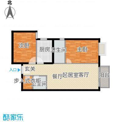 城市印象107.51㎡二室一厅二卫户型