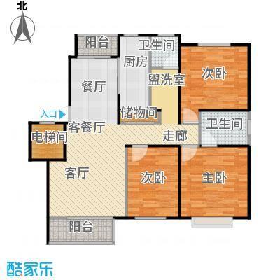 富锦嘉园93.00㎡三期F区1号楼B-2两室两厅一卫户型
