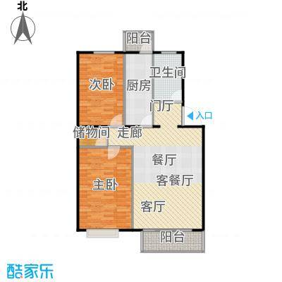 富锦嘉园91.00㎡三期F区6号楼A-1反两室两厅一卫户型