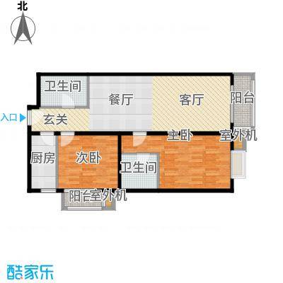 天创公馆106.69㎡A-2户型二室二厅二卫户型