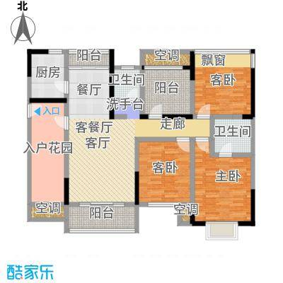 盛腾学林西岸131.00㎡C2户型 三室二厅二卫 131平米户型3室2厅2卫