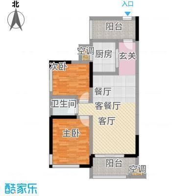 盛腾学林西岸83.00㎡B3户型 二室二厅一卫 83平米户型2室2厅1卫