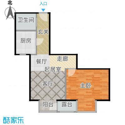 国际E庄61.21㎡A户型1室1厅1卫