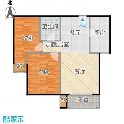 圣淘沙94.99㎡4号楼F户型二室二厅一卫户型