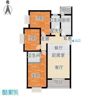 格瑞雅居126.73㎡P户型三室两厅两卫户型