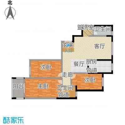 阳光嘉苑160.00㎡E户型:三室两厅两卫户型3室2厅2卫