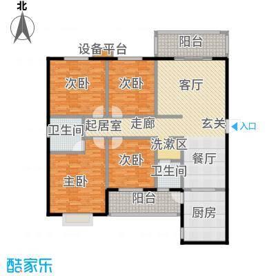 华富世家159.00㎡三室两厅两卫双阳台户型3室2厅2卫