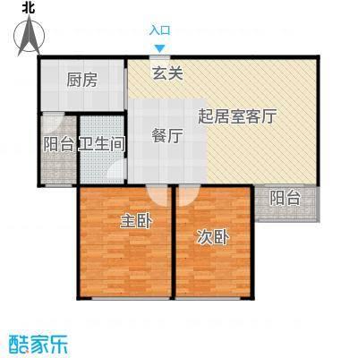 蓝调沙龙99.60㎡F户型两室一厅一卫户型