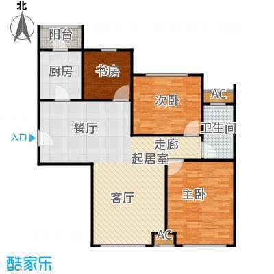 蓝调沙龙104.34㎡G户型三室两厅一卫户型